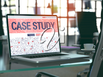 Case Study Concept - Closeup on Landing Page of Laptop Screen in Modern Office Workplace. Toned Image with Selective Focus. 3D Render.