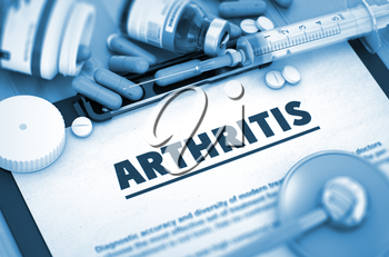 Arthritis - Printed Diagnosis with Blurred Text. Arthritis Diagnosis, Medical Concept. Composition of Medicaments. 3D.