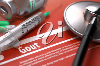 Gout - Printed Diagnosis with Blurred Text on Orange Background and Medical Composition - Stethoscope, Pills and Syringe. Medical Concept. 3D Render.