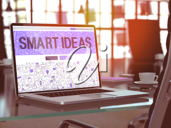 Smart Ideas - Closeup Landing Page in Doodle Design Style on Laptop Screen. On Background of Comfortable Working Place in Modern Office. Toned, Blurred Image. 3D Render.