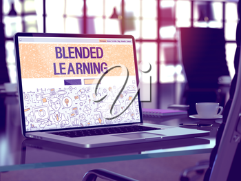 Blended Learning - Closeup Landing Page in Doodle Design Style on Laptop Screen. On Background of Comfortable Working Place in Modern Office. Toned, Blurred Image. 3D Render.