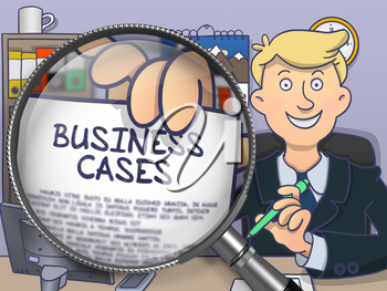 Business Cases on Paper in Man's Hand to Illustrate a Business Concept. Closeup View through Magnifying Glass. Multicolor Doodle Illustration.