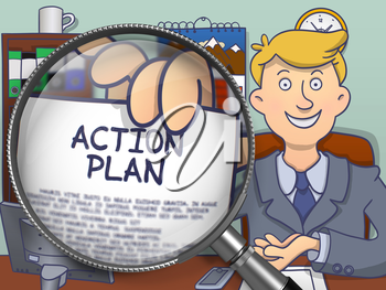 Action Plan on Paper in Business Man's Hand through Magnifier to Illustrate a Business Concept. Multicolor Modern Line Illustration in Doodle Style.