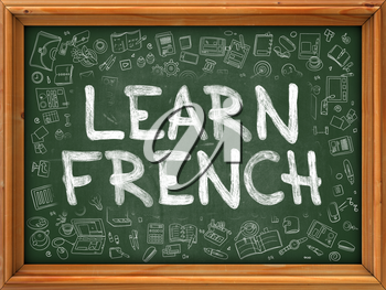 Green Chalkboard with Hand Drawn Learn French with Doodle Icons Around. Line Style Illustration.