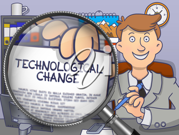Technological Change. Businessman Holds Out a Paper with Inscription through Magnifying Glass. Colored Doodle Style Illustration.
