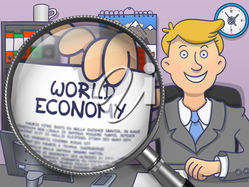 World Economy through Lens. Officeman Showing Paper with Text. Closeup View. Multicolor Doodle Illustration.