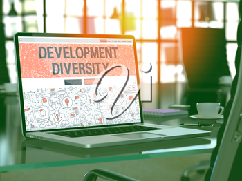 Development Diversity Concept. Closeup Landing Page on Laptop Screen in Doodle Design Style. On Background of Comfortable Working Place in Modern Office. Blurred, Toned Image. 3D Render.