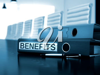 Benefits. Illustration on Blurred Background. Binder with Inscription Benefits on Black Desktop. Benefits - Business Concept on Toned Background. 3D.