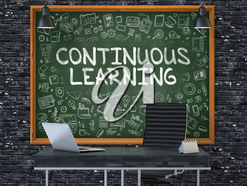 Hand Drawn Continuous Learning on Green Chalkboard. Modern Office Interior . Dark Brick Wall Background. Business Concept with Doodle Style Elements. 3d.