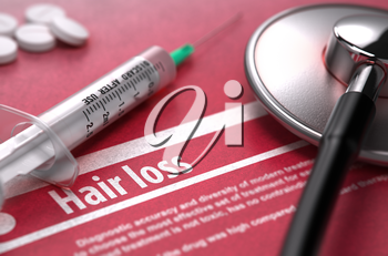 Hair loss - Printed Diagnosis on Red Background with Blurred Text and Composition of Pills, Syringe and Stethoscope. Medical Concept. Selective Focus. 3D Render.