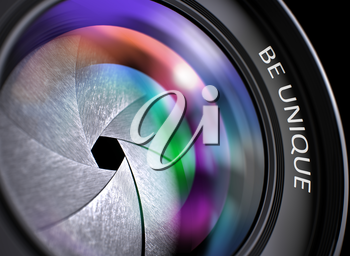 Front Glass of Camera Lens with Be Unique Concept, Closeup. Lens Flare Effect. Be Unique on Camera Photo Lens. Colorful Lens Flares. Selective Focus with Shallow Depth of Field. 3D Illustration.