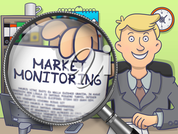Market Monitoring. Smiling Businessman in Office Showing a Paper with Inscription through Lens. Multicolor Doodle Style Illustration.