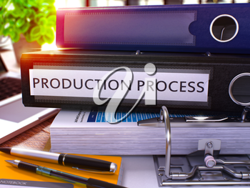 Production Process - Black Ring Binder on Office Desktop with Office Supplies and Modern Laptop. Production Process Business Concept on Blurred Background. 3D Render.