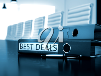 Best Deals - File Folder on Office Desk. Best Deals - Business Concept on Toned Background. File Folder with Inscription Best Deals on Desktop. 3D Render.