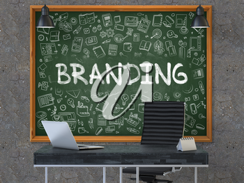 Branding - Handwritten Inscription by Chalk on Green Chalkboard with Doodle Icons Around. Business Concept in the Interior of a Modern Office on the Dark Old Concrete Wall Background. 3D.
