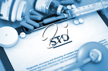 STD - Printed Diagnosis with Blurred Text. Diagnosis - STD On Background of Medicaments Composition - Pills, Injections and Syringe. 3D.