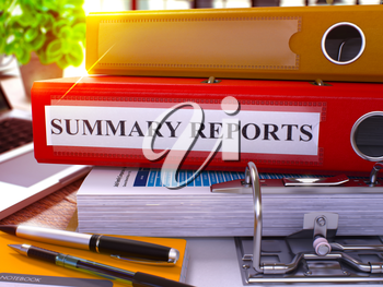 Red Ring Binder with Inscription Summary Reports on Background of Working Table with Office Supplies and Laptop. Summary Reports Business Concept on Blurred Background. 3D Render.