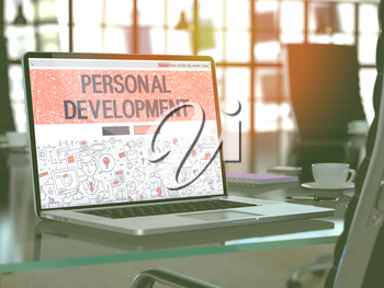 Modern Workplace with Laptop Showing Landing Page in Doodle Design Style with Text Personal Development. Toned Image with Selective Focus. 3D Render.
