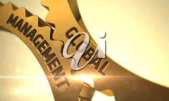Golden Gears with Global Management Concept. Global Management on Mechanism of Golden Gears with Lens Flare. Global Management Golden Metallic Cogwheels. Global Management on the Golden Gears. 3D.