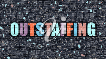 Outstaffing - Multicolor Concept on Dark Brick Wall Background with Doodle Icons Around. Modern Illustration with Elements of Doodle Style. Outstaffing on Dark Wall.