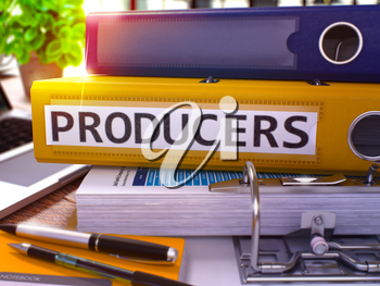 Producers - Yellow Ring Binder on Office Desktop with Office Supplies and Modern Laptop. Producers Business Concept on Blurred Background. Producers - Toned Illustration. 3D Render.