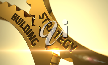 Golden Metallic Cogwheels with Strategy Building Concept. Strategy Building Golden Gears. Strategy Building on Mechanism of Golden Metallic Cogwheels with Lens Flare. 3D.