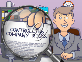 Controlling Company Risks through Magnifier. Business Man Shows Paper with Concept. Closeup View. Colored Modern Line Illustration in Doodle Style.