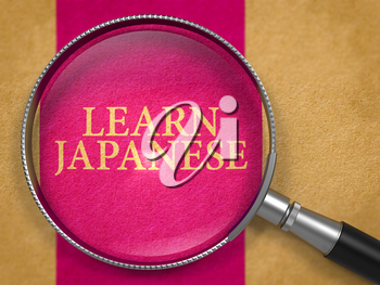 Learn Japanese through Magnifying Glass on Old Paper with Lilac Vertical Line Background. 3D Render.