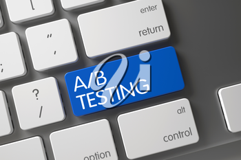 A/B Testing Concept: Metallic Keyboard with A/B Testing, Selected Focus on Blue Enter Key. Metallic Keyboard with the words A/B Testing on Blue Button. 3D Render.