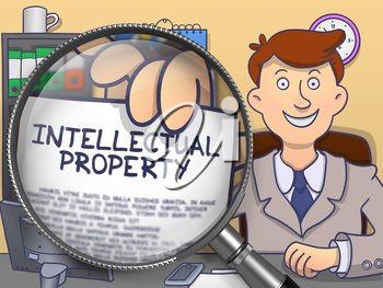 Intellectual Property on Paper in Businessman's Hand to Illustrate a Business Concept. Closeup View through Lens. Colored Modern Line Illustration in Doodle Style.
