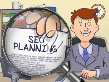 Businessman in Suit Holding a Paper with SEO Planning Concept through Lens. Closeup View. Multicolor Doodle Style Illustration.