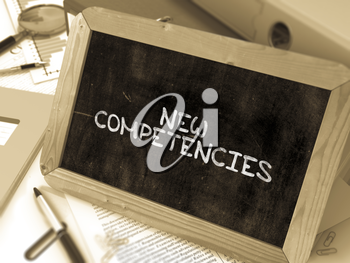 Hand Drawn New Competencies Concept  on Chalkboard. Blurred Background. Toned Image. 3D Render.