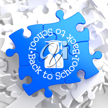 Back to School Written Arround Icon of Human Silhouette in Grad Hat on Blue Puzzle. Education Concept.
