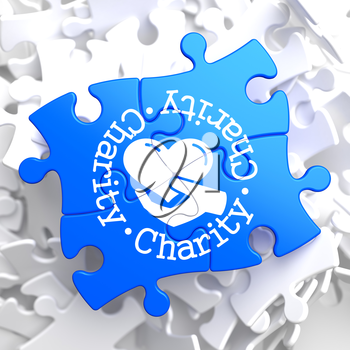 Charity Word Written Arround Icon of Heart in the Hand, Located on Blue Puzzle. Social Concept.