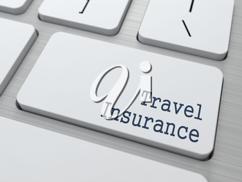 Travel  Insurance - Business Concept. Button on Modern Computer Keyboard.