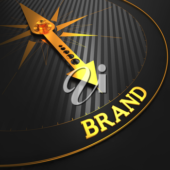 Brand - Business Concept. Golden Compass Needle on a Black Field Pointing to the Brand Word.
