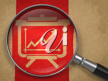 Magnifying Glass with Flipchart with Growth Chart Icon on Old Paper with Red Vertical Line Background.