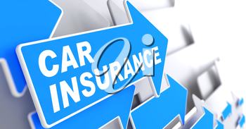 Car Insurance - Business Concept. Blue Arrow with Car Insurance Words on a Grey Background.