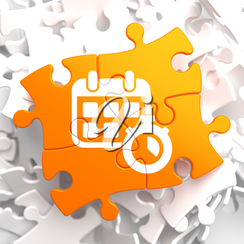 Time Concept. Icon of White Calendar with Timer on Orange Puzzle.