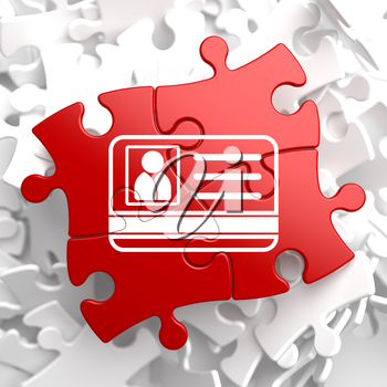 ID Card Icon on Red Puzzle. Identification Concept.
