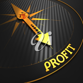 Profit - Business Concept. Golden Compass Needle on a Black Field Pointing to the Word Profit.