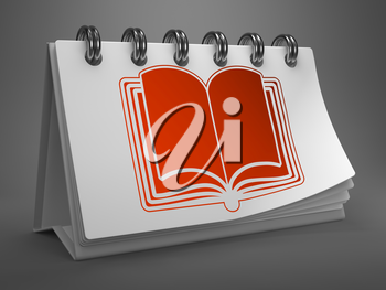 Red Open Book Icon on White Desktop Calendar Isolated on Gray Background.
