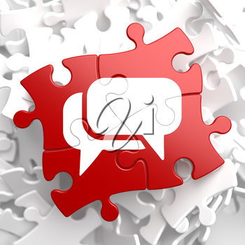 White Speech Bubble Icon on Red Puzzle. Communication Concept.
