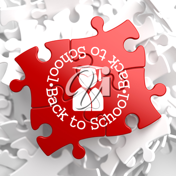 Back to School Written Arround Icon of Human Silhouette in Grad Hat on Red Puzzle. Education Concept.