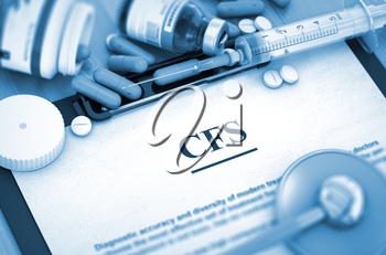 CFS - Printed Diagnosis with Blurred Text. CFS - Medical Report with Composition of Medicaments - Pills, Injections and Syringe. CFS, Medical Concept with Selective Focus. 3D.