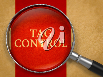 Tag Control through Lens on Old Paper with Crimson Vertical Line Background. 3D Render.