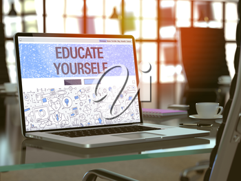 Educate Yourself - Closeup Landing Page in Doodle Design Style on Laptop Screen. On Background of Comfortable Working Place in Modern Office. Toned, Blurred Image. 3D Render.