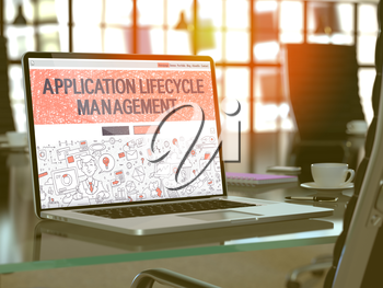 Application Lifecycle Management Concept Closeup on Landing Page of Laptop Screen in Modern Office Workplace. Toned Image with Selective Focus. 3D Render.