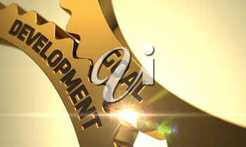 Goal Development - Concept. Goal Development on the Mechanism of Golden Cog Gears with Lens Flare. Goal Development on Mechanism of Golden Metallic Cog Gears with Glow Effect. 3D Render.