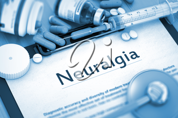 Neuralgia - Medical Report with Composition of Medicaments - Pills, Injections and Syringe. Neuralgia Diagnosis, Medical Concept. Composition of Medicaments. 3D Render.
